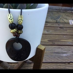 Wooden Beaded Black and Gold Necklace